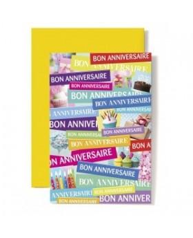 Carte Double Anniversaire Banderoles Bon Anniversaire