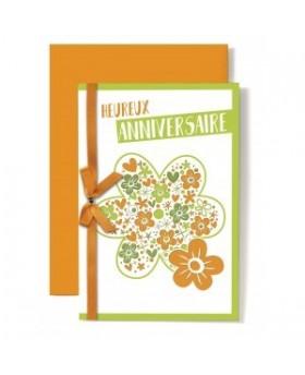 Carte Double Anniversaire Dessin fleur orange et vert