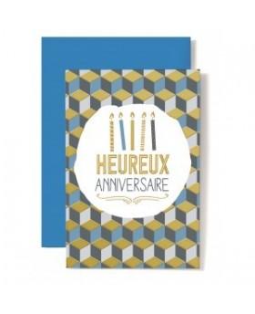 Carte Double Anniversaire Bougies sur fond géométrique
