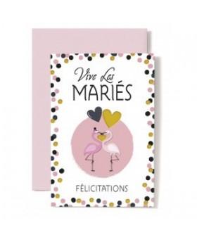 Carte Double Mariage Couple de flamants rose