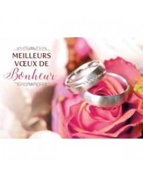 Carte Double Mariage Alliances posées sur une rose