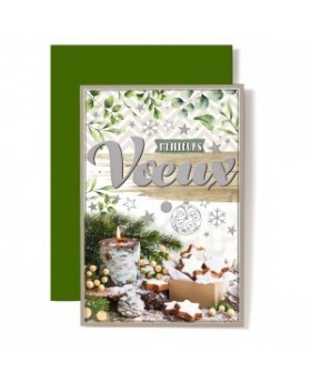 Carte double Meilleurs Vœux Décoration de Noël, bougie, gateaux