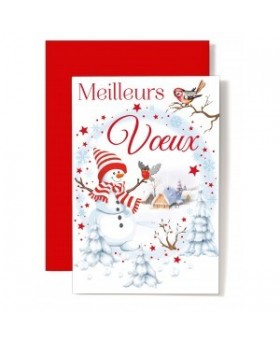 Carte double Meilleurs Vœux Bonhomme de neige devant un village