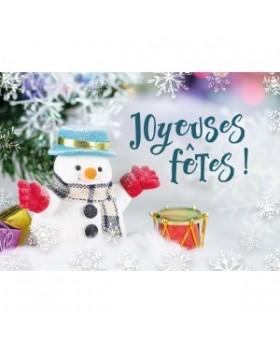 Carte Fin D'annee Bonhomme de neige dans un décor de Noël (JF)