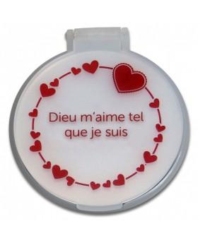 """Miroir de poche coeur rose.  """" Dieu m'aime tel que je suis"""""""