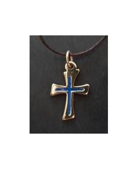 Croix dorée résine bleu